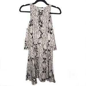 Parker Silk Snakeskin Print Tiered Shift Dress